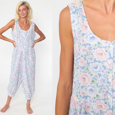 Floral Jumpsuit 80s Button Up Summer Pantsuit Maternity Cropped Pants Capri Jumpsuit Vintage Romper 90s Baggy Sleeveless Cotton Medium Large by ShopExile