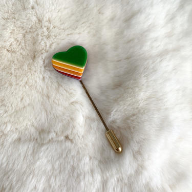 Vintage Rainbow Heart Stick Pin   Green Heart with Rainbow Pin   Vintage Jewelry   Gift for Young Girl or Teenager by PebbleCreekGoods