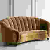 Channel Back Curved Sofa in Italian Mohair