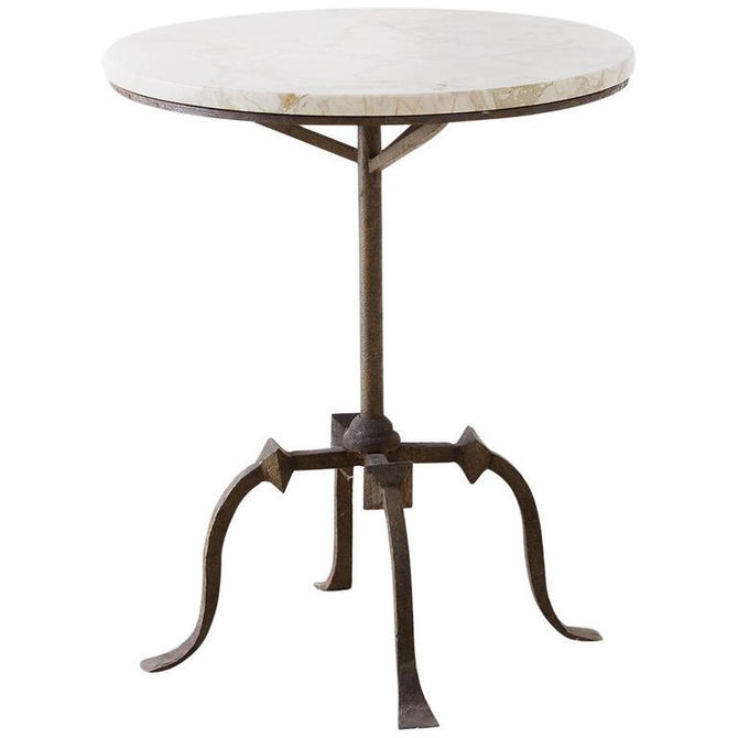 Gothic Revival Style Iron and Marble Drinks Table by ErinLaneEstate