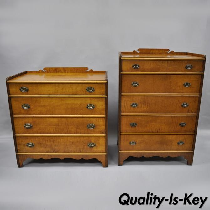 Pair of Antique Maple High Chest Low Dresser Traditional Cottage Bedroom Set