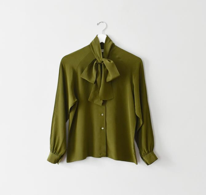 vintage silk tie neck blouse, olive green button down shirt, size S by ImprovGoods