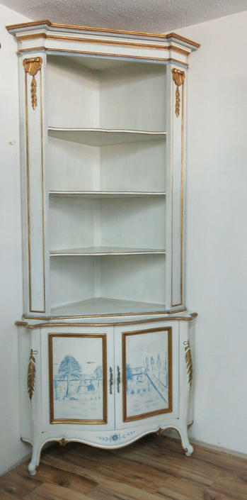 Tall Large Painted Two Part Corner Cabinet Display Shelves 1579