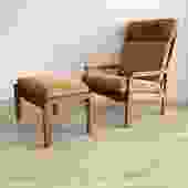 1960s Danish Teak Arm Chair + Ottoman By Illum Wikkelso