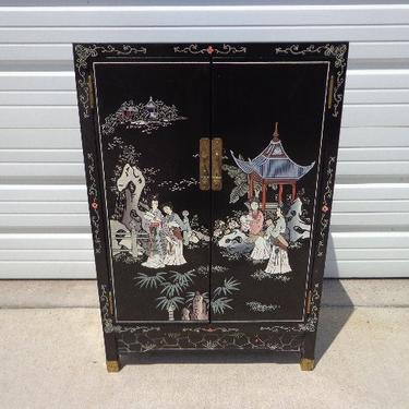 Chinese Cabinet Console Vintage Chinoiserie Storage Nightstand Entry Way Table  Campaign Chest Dresser Bureau Buffet Media Drawers Asian by DejaVuDecors