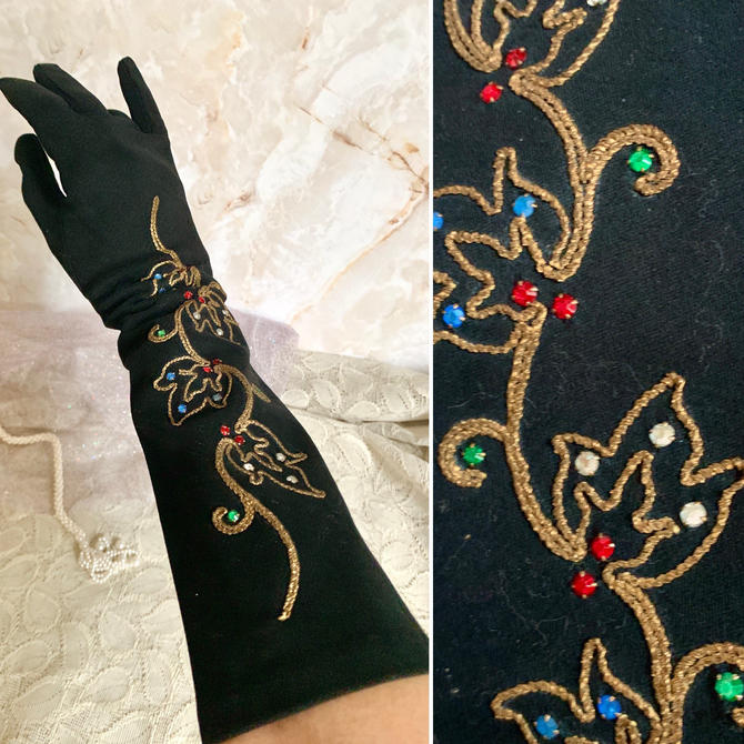 FABULOUS GLOVES, Prong Set Rhinestones, Gold Lurex Embroidery, 15 in. Opera Length, Rockabilly, Pin Up, Vintage 50s 60s by GabAboutVintage