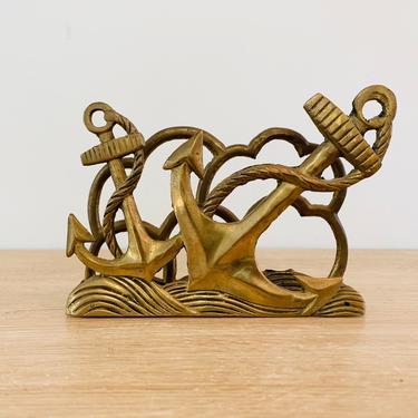 Vintage Mid Century Modern Anchors Brass Napkin Holder Letter Holder by DelveChicago