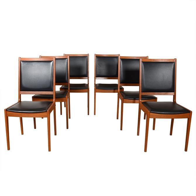 Set of 6 Danish Black + Teak Square Back Dining Chair