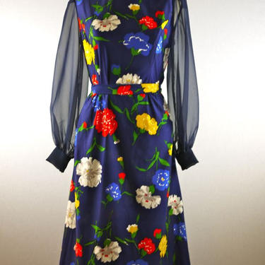 Navy Floral Dress with Sheer Sleeves by citybone