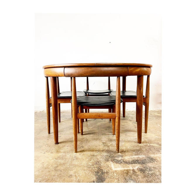 Mid Century Danish Modern Dining Table and Chairs Hand Olsen by FlipAtik