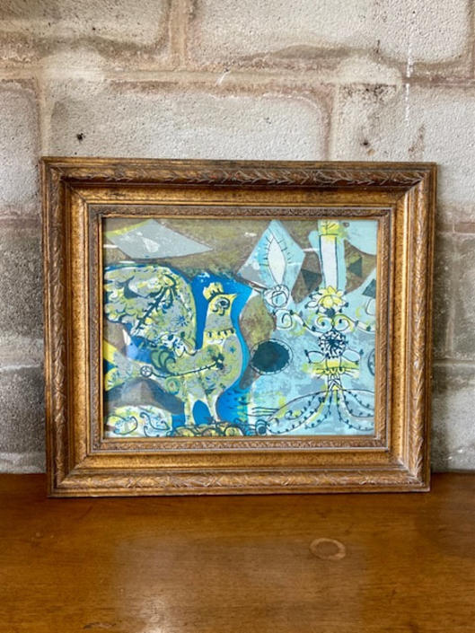 MCM Framed Abstract Rooster Art
