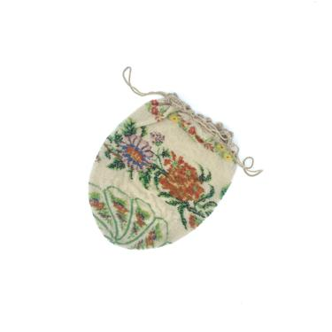 Antique 1910s 1920s Micro-Beaded Reticule Purse, Floral Evening Bag, Edwardian/Flapper Drawstring Pouch by RanchQueenVintage