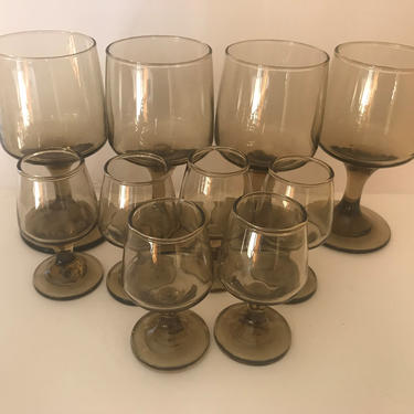 """Vintage (10) PC Set smokey brown Libbey """"Tawny""""  Pattern  Shot glasses, Cordials goblets or wine glasses by JoAnntiques"""