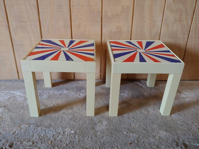 Mid Century Modern 1970's Plastic British Invasion Psychedelic Parson's Side Tables - Set of 2 by ModandOzzie