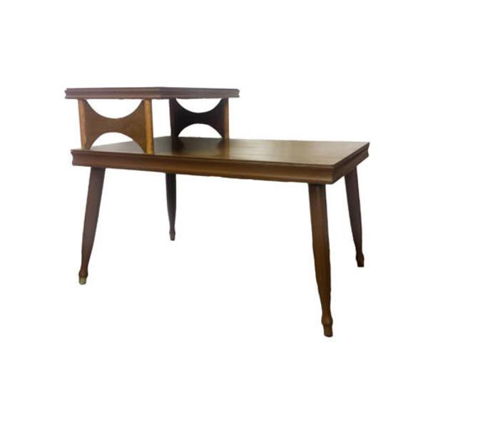 Vintage End Table Mid Century Modern Step End Table Vintage 2 Tier Side Table Vintage