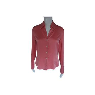 Trina Turk Coral Pink Silk Charmeuse Shirt Button-down Top by MetronomeThreads
