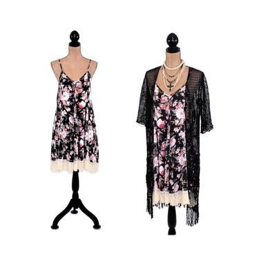 Pink & Black Print Floral Grunge Babydoll Sundress Boho Spaghetti Strap Romantic Flowy Summer Dress Women Clothes Bohemian Hippie Lace Hem by MagpieandOtis