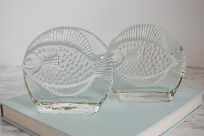Glass Fish Bookends - Vintage Pilgrim Glass Bookends - Fish Bookends by PursuingVintage1