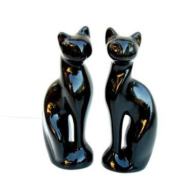 Modernist Mid-Century Siamese Cat Figurines || Black Porcelain Minimalist Cat Statues by ELECTRICmarigold