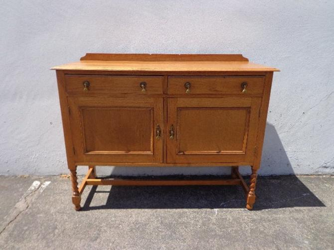 Antique Buffet Cabinet Traditional Shabby Chic Primitive Sideboard Hutch Wood TV Media Console Country Storage Table CUSTOM Paint Avail by DejaVuDecors