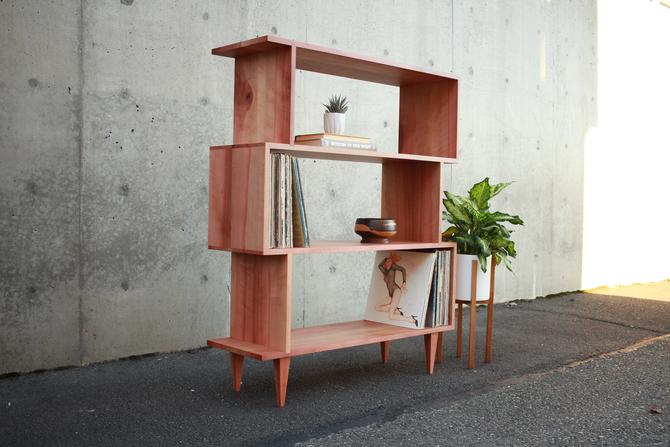 "4-Tier OFFSTACK Bookcase, 49""H, Mid Century Record Shelf, Geometric Bookshelf, Modern Offset Shelf (Shown in Madrone) by TomfooleryWood"