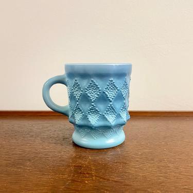 Vintage Fire King Anchor Hocking Glass Blue Ombre Milk Glass Kimberly Diamond Mug, MCM Mug Tea Coffee Cup by BlackcurrantPreserve