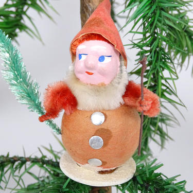 Antique Spun Cotton Christmas Ornament, Santa with Faux Feather Tree, Hand Painted Clay Face, Vintage Retro Decor by exploremag