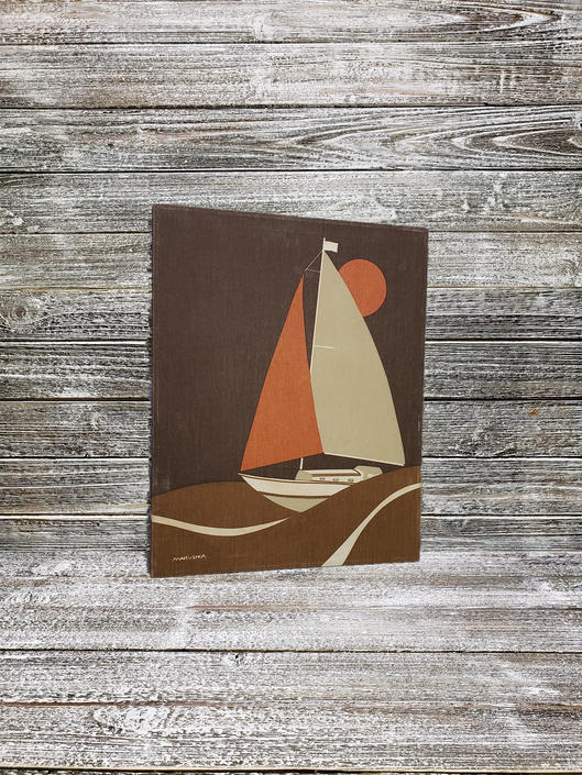 VINTAGE Marushka Silkscreen Canvas Print, Mid Century Modern Sailboat & Sun Textile Art, Wood Frame, 1970s Fabric Tapestry, Wall Hanging by AGoGoVintage