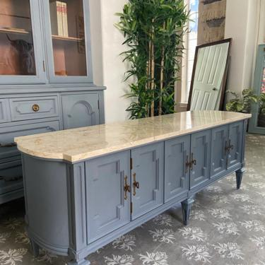 Vintage Italian Provincial Marble Top Coffee Table Low Profile Cabinet *Local Pick Up Only by BluePoppyFurniture