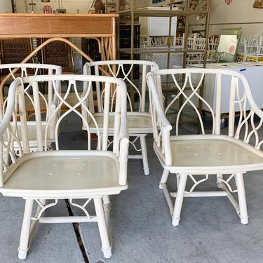 Set of Four Ficks Reed Rattan Swivel Chairs