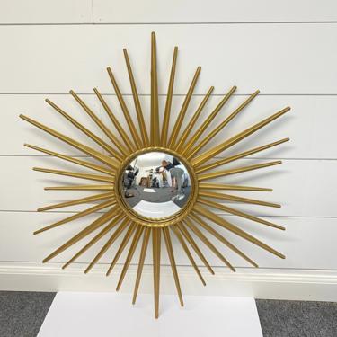 Vintage 60s French Chaty Vallauris Sunburst Convex Mirror Mid Century Modern Gold by HouseofVintageOnline