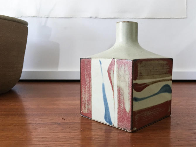 Four sided Japanese pottery Weedpot Japanese Vintage Handmade Rare midcentury Studio by CaribeCasualShop