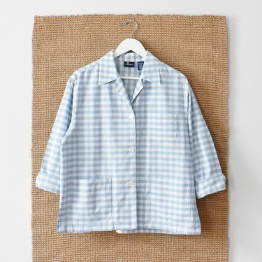 vintage gingham chore jacket jacket, check print cotton coat, size L by ImprovGoods