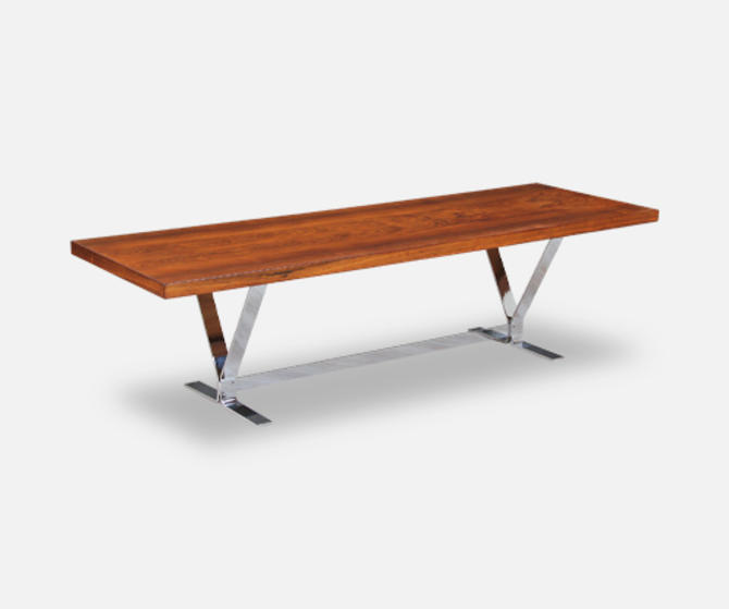 Danish Modern Rosewood & Chrome Coffee Table by Georg Thams