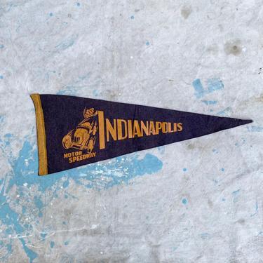 Antique Indianapolis Motor Speedway Souvenir Felt Pennant Home Decor by NorthGroveAntiques