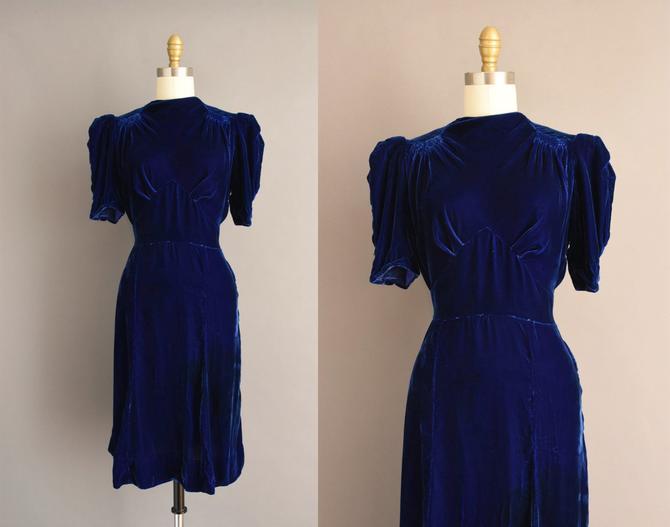 vintage 1930s dress | Gorgeous Blue Silk Velvet Holiday Cocktail Party Dress | Small Medium | 30s vintage dress by simplicityisbliss