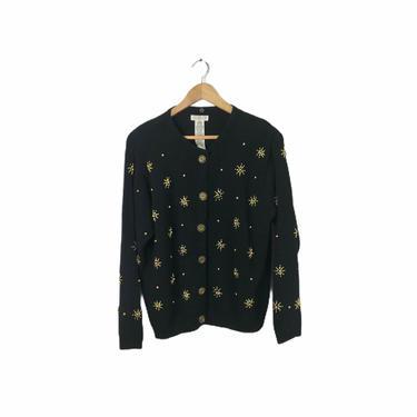 "Vintage Black and Gold Beaded Starburst Star Cardigan Sweater, 40"" Bust by Northforkvintageshop"