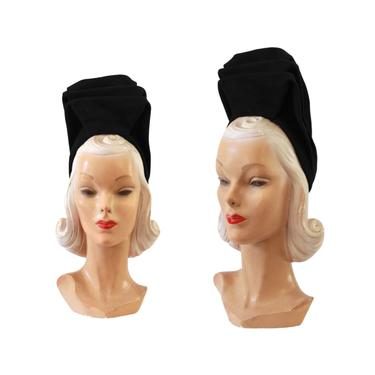 Late 1930s Turban Hat - 1930s Black Turban Hat - 1930s Black Hat - 1940s Turban Hat - Vintage Turban Hat - 1930s Womens Hat - 40s Womens Hat by VeraciousVintageCo