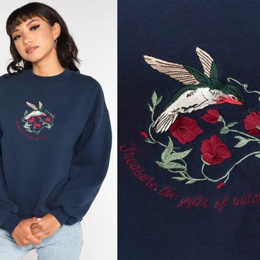 Hummingbird Sweatshirt 80s Sweatshirt Navy Blue Graphic Bird Print Grandma 1980s Bird Sweatshirt Vintage Jerzees Large L by ShopExile