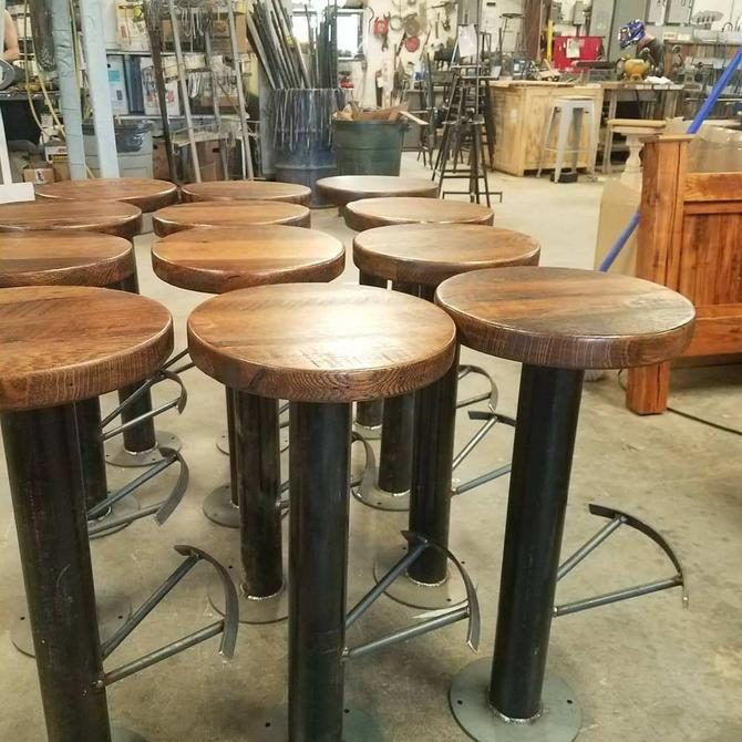 Free Shipping! Bolt Down Urban Industrial Pedestal Bar Stools with Foot Rest from Reclaimed Wood by BarnWoodFurniture