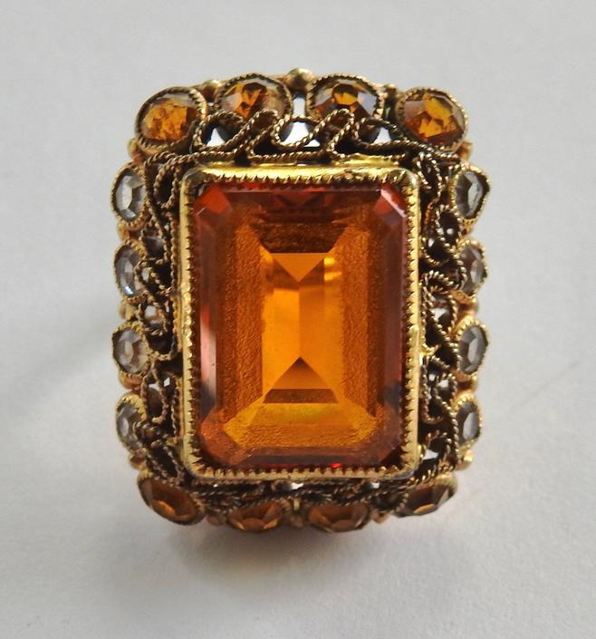 1930s Large Gold Glass Rectangular Cut  Ring by LegendaryBeast