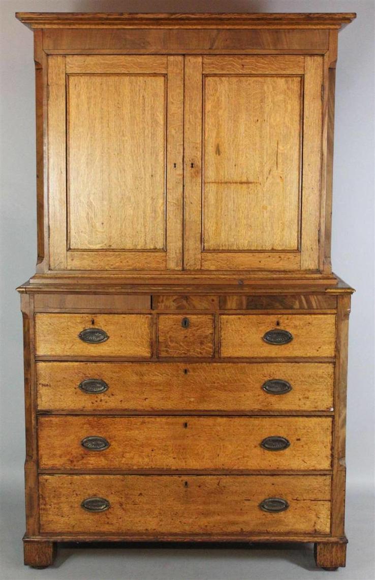 Late 1800s-NLT1900 Antique English Oak Linen Press ...