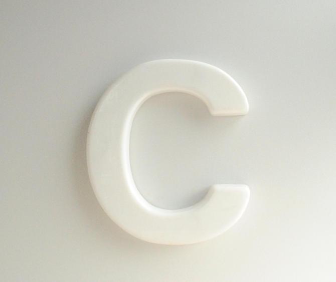 Vintage Sign Letter C, White Plastic Letter C by LittleDogVintage