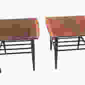 Beautiful Pair Mid Century Modern Walnut Bassett two tier end side tables by Marykaysfurniture