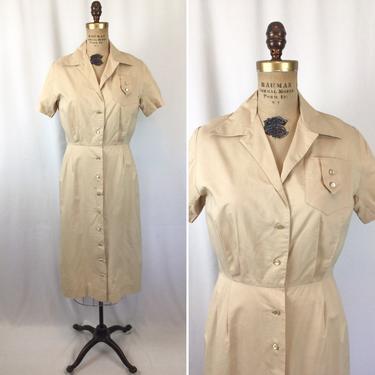 Vintage 50s dress   Vintage beige cotton uniform dress   1950s Mayflower button front shirt dress by BeeandMason