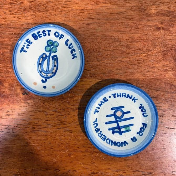Vintage M.A. Hadley Pottery Country Scene Blue Pair of Coasters by OverTheYearsFinds