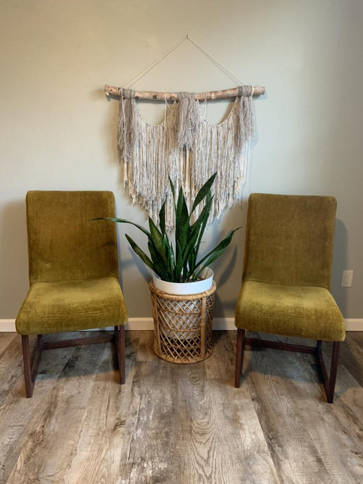 Set of 2 Mid Century Dillingham Crushed Velvet and Walnut Dining Chairs by DesertCactusVintage