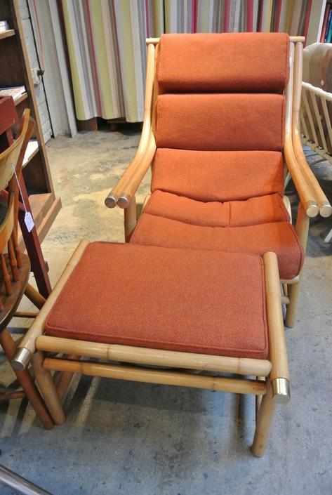 Rattan Chair + Ottoman. $195
