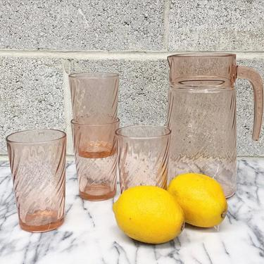 Vintage Pitcher and Glasses Set Retro 1960s Arcoroc France + Rosaline Pink + Clear + 4 Drinking Glasses + Serveware + Home and Kitchen Decor by RetrospectVintage215
