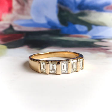 Estate Five Stone Straight Baguette Diamond Band 1.04ct t.w. Bar Set Ring 18k Yellow Gold by YourJewelryFinder